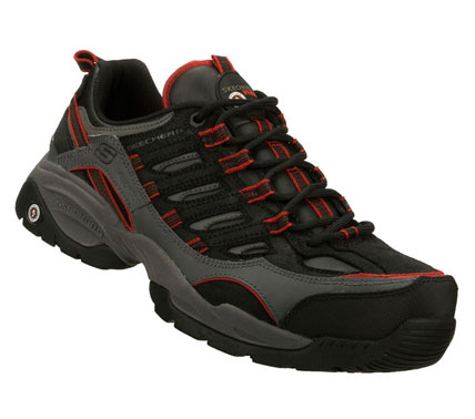 SKECHERS Mens Work Sparta S R Command Non-steel Safety Toe Shoes - Black/Red - 13