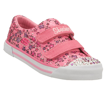 SKECHERS Girls Twinkle Toes Lookies Baby Buds Hook And Loop Shoes - Pink/Pink - 5N