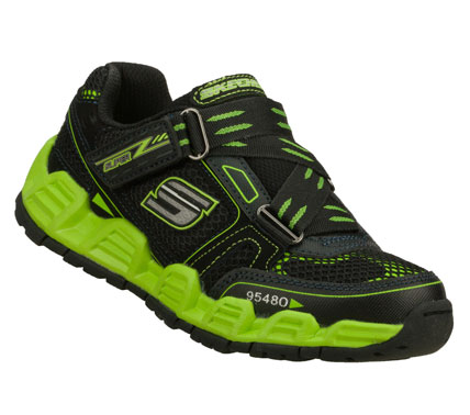 SKECHERS Boys Reacon Hook And Loop Sneakers - Black/Green - 1L