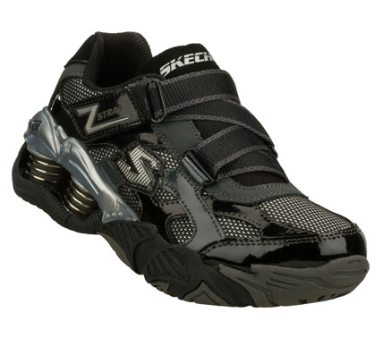 SKECHERS Boys Mega Flex Pistonz Imbue Hook And Loop Sneakers - Black/Grey - 1.5L