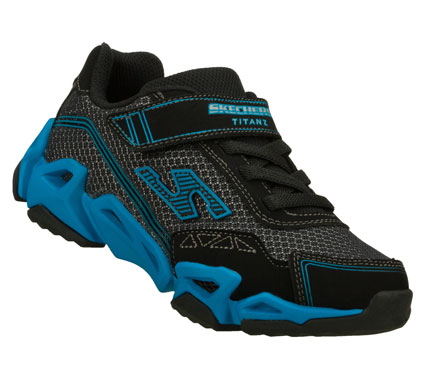 SKECHERS Boys Air Mazing Kid Fierce Flex Hook And Loop Sneakers - Black/Blue - 12.5L