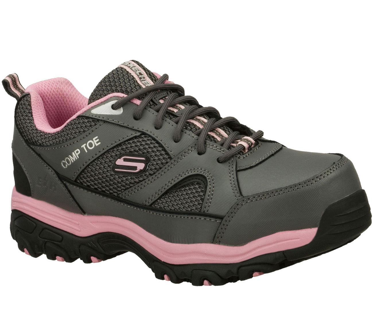Women's Composite Toe Converse C455 Cross Trainer Work Shoes, Light Gray / Pink